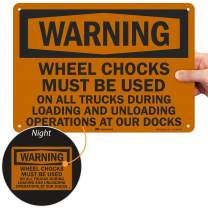 "Smartsign U6-1278-RA_14X10""Warning Wheel CHOCKS Must BE Used ON All Trucks During Loading and UNLOADING Operations at Our Dock"" Reflective Recycled Aluminum Sign, 14"" x 10"""