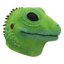 molezu Lizard Head Mask Halloween Costume Props Adult Party Realistic Animal Latex Masks Green