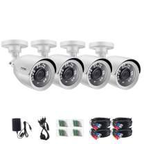 ZOSI 4 Pack 2MP HD 1080p Security Bullet Camera Outdoor/Indoor (Hybrid 4-in-1 HD-CVI/TVI/AHD/960H Analog CVBS),24PCS LEDs, Long Night Vision,Weatherproof Surveillance CCTV Camera Housing