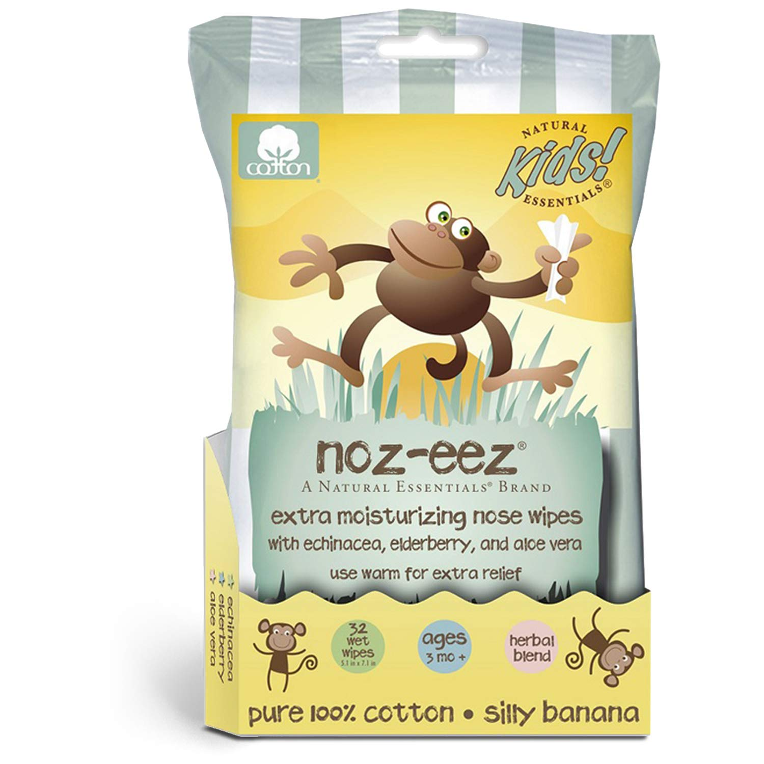 Noz-EEZ Moisturizing Nose Wipes for Kids w/Echinacea, Elderberry & Aloe, Banana Scent by Natural Essentials, 32-Count (1)