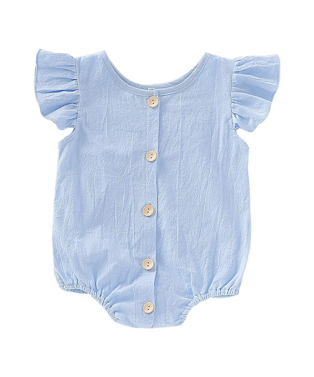 "Newborn Baby Girl Soild Ruffle Sleeve Bodysuit Romper Onesie Jumpsuit Button Shirt Top Summer Clothes Outfits (Blue, 0-6M Length14.9 Bust 9.8"")"