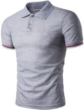 Sportides Mens Polo Shirts Contrast Collar Golf Tennis Short Sleeve Shirt Tops JZA035 LightGray L