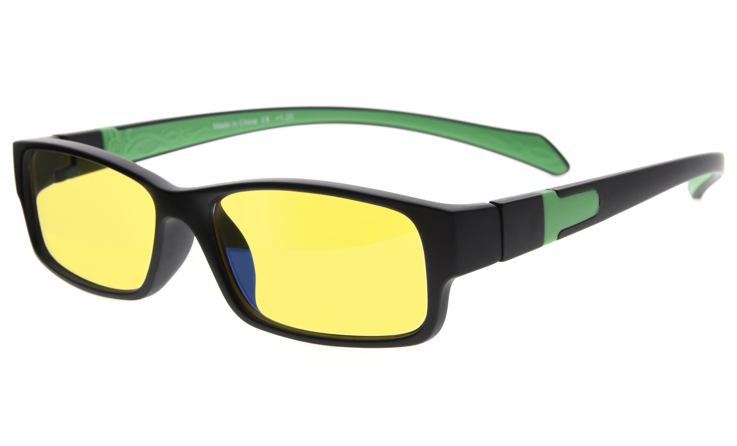 Eyekepper UV and Computer/TV Electromagnetic Radiation Protection,Scratch Resistant, Anti Blue Light More Than 94% Computer Glasses, Yellow Tinted Lens (Black/Green Arm +2.00)