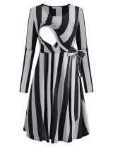 Becanbe Women's Nursing Breastfeeding Long Sleeve Striped Casual Flowy Midi Belt Dress