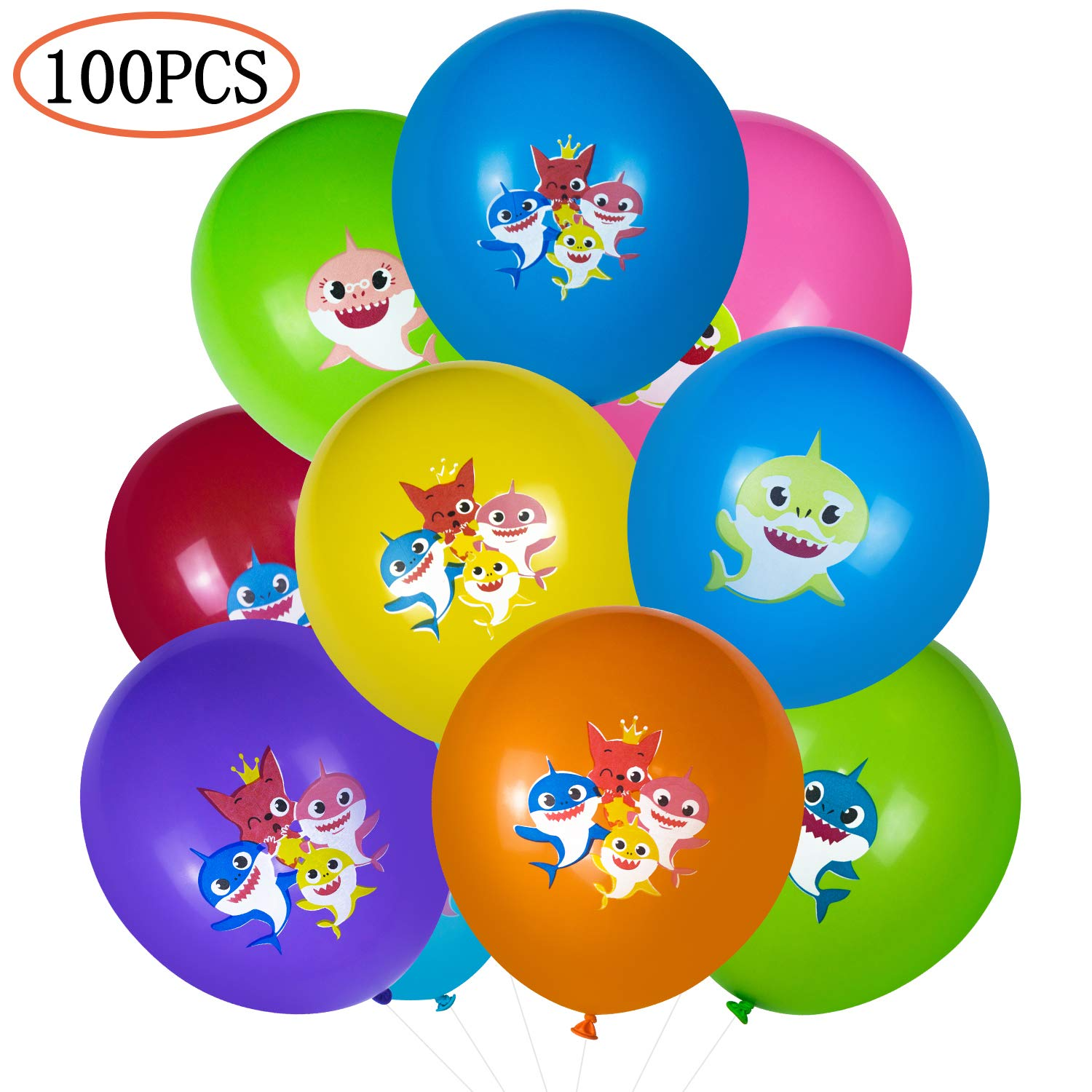 MandoPon 12 inch Baby shark Helium Balloons,Thick Durable No Smell Latex balloons for Baby Shark Party Supplies Birthday Wedding Christmas Pack of 100