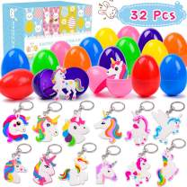 OCATO 16 Pcs Plastic Easter Eggs + 16 Pcs Rainbow Unicorn Keychains Easter Egg Fillers Easter Toys Gifts for Kids Boys Girls Easter Unicorn Party Favors Goodie Bags Easter Egg Hunts Basket Stuffers