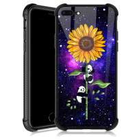iPhone 8 Plus Case,Sunflower Panda Satrry iPhone 7 Plus Cases for Girls,Tempered Glass Back Cover Anti Scratch Reinforced Corners Soft TPU Bumper Shockproof Case for iPhone 7/8 Plus Nebula Night Sky