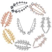 8 Pairs Crystals Ear Cuffs Hoop Climber Cartilage Earrings with Cubic Zirconia Piercing CZ Hypoallergenic Earring for Women, Ear Cuffs Wraps Earrings for Women Girls