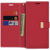 Qoosan LG Q6 Case, LG Q6 Plus Wallet Case, Slim Leather Flip Cover with Card Holder, Red
