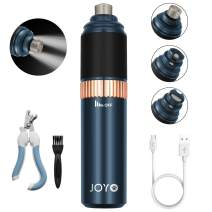 JOYO Dog Nail Grinder Upgraded with Double LED Light, Pet Nail Trimmer USB Rechargeable Stepless Speed Regulation with 3 Ports, Low Noise Electric Nail File for Dogs, 16 Hours Working Time