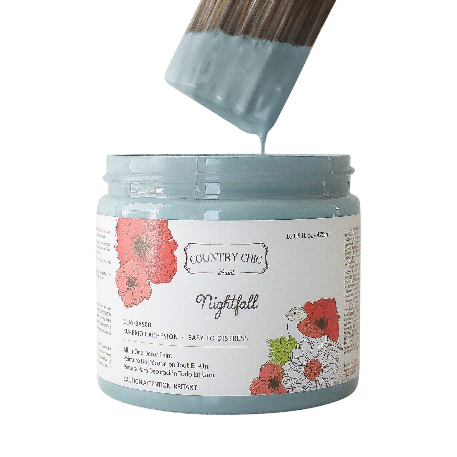 Chalk Style Paint - for Furniture, Home Decor, Crafts - Eco-Friendly - All-in-One - No Wax Needed (Nightfall [Blue], Pint (16 oz))