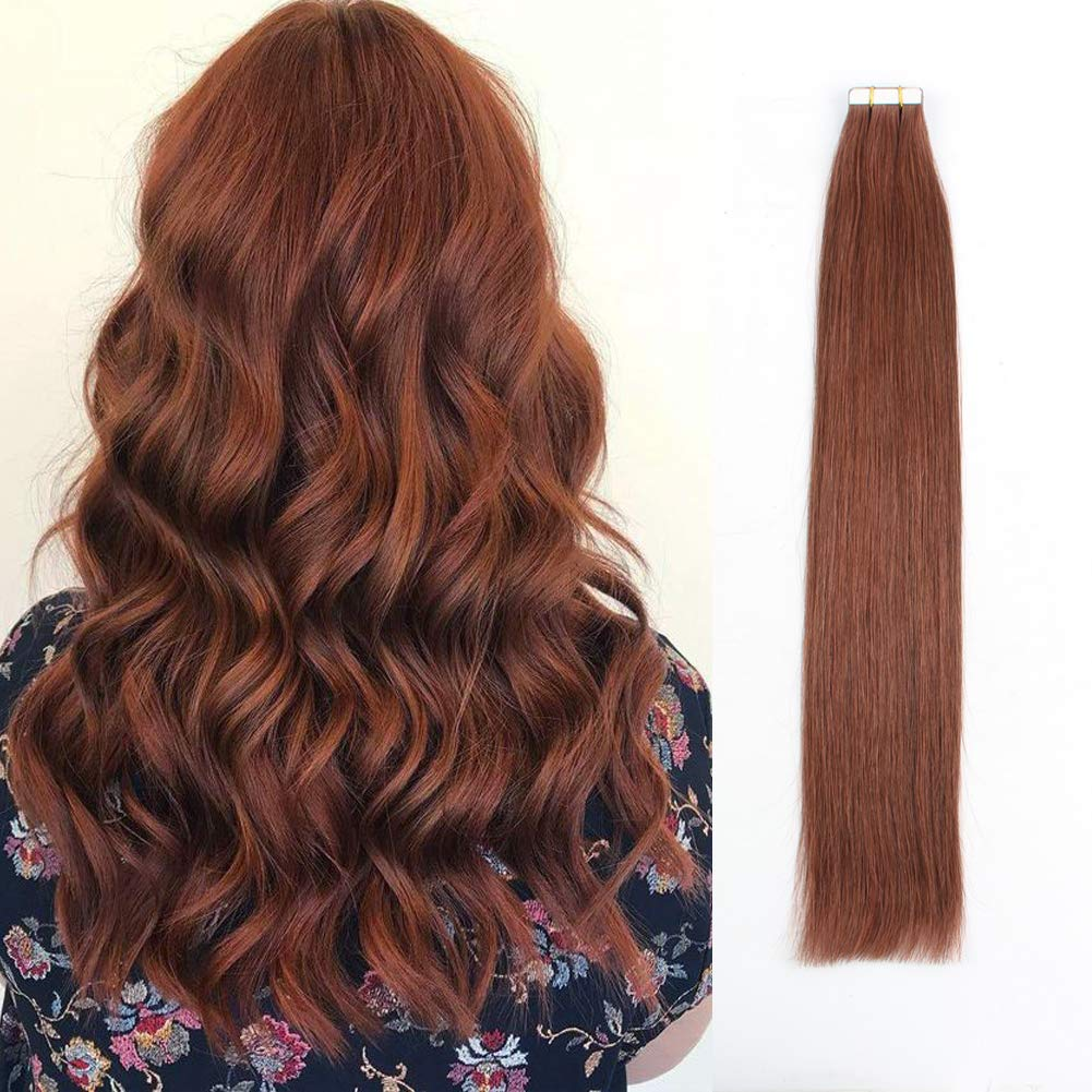 Sassina 18 Inch Semi-permanent Tape in Hair Extensions Thick Remi per Remy Natural Straight Seamless Double Side Tape Attached Skin Wefts 50 Grams with 20 Pieces #33 Vibrant Color