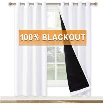 RYB HOME Black and White Curtains - 100% Blackout Curtains 2 Layers with Liner Thermal Insulated Backdrop Curtain for Sliding Glass Door Bedroom Window, 52 inch Wide x 72 inch Long, Pure White, 2 Pcs