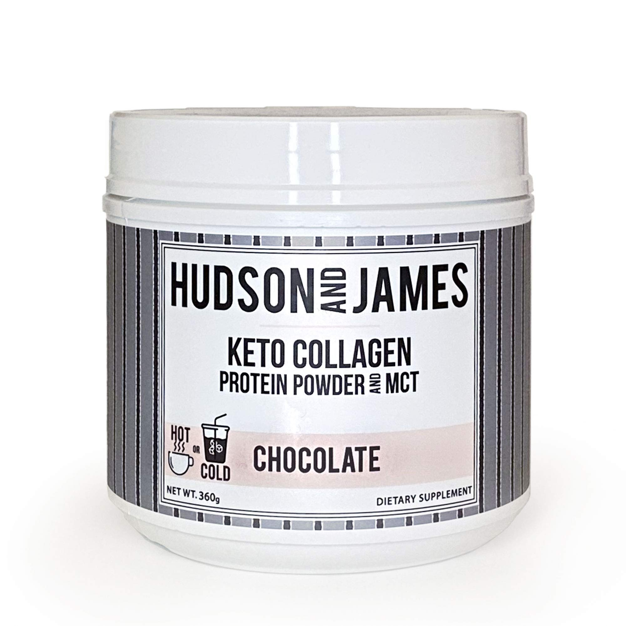 Hudson and James Grass Fed Keto Collagen Peptides Protein Powder and MCT, Chocolate | Pasture Raised, Boost Your Workouts, Improve Skin, Hair & Nails, Boost Focus