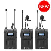 Dual Wireless Lavalier Microphone DSLR, BOYA Dual-Channel System 2 Transmitter & 1 Receiver for Canon Camera Recorder Facebook Livesteam Vblog YouTube Street Interview