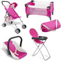 fash n kolor 4 Piece Pink Baby Doll Set, Includes - 1 Pack n Play with Carry Bag, 2 Doll Stroller, 3 Doll High Chair, 4 Infant Seat,