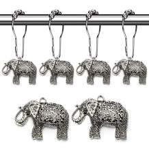 Aitian Elephant Shower Curtain Hooks Rings - Animal Pendant Accessories Set,Tropical Forest,Nature,Farm,Woodland,Floral,Mountain,Country,Outdoor,Park,Garden,Idyllic Modern Theme Bathroom Decor,12PCS