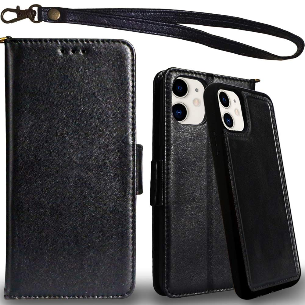 Mefon Genuine Leather iPhone 11 Case Wallet, Magnetic Detachable, Wireless Charging Compatible, with Tempered Glass and Wrist Strap, Luxury Genuine Leather Folio Flip Cases for iPhone 11 6.1 (Black)