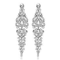 mecresh Flower Teardrop Bridal Wedding Dangle CZ Earrings in Silver/Gold Tone for Women Girl Bride Gift