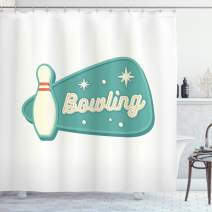 """Ambesonne Bowling Shower Curtain, Vintage Design in Traditional American Style Hobby Fun Sports Theme, Cloth Fabric Bathroom Decor Set with Hooks, 70"""" Long, Seafoam Cream"""