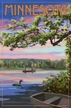 Minnesota - Summer Lake Sunset Scene 90614 (24x36 SIGNED Print Master Art Print - Wall Decor Poster)