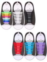 6 Pairs No Tie Shoelaces Silicone Elastic Athletic Sport Shoe Lace (Multi-color, Sky Blue, Black, White, Red, Purple)
