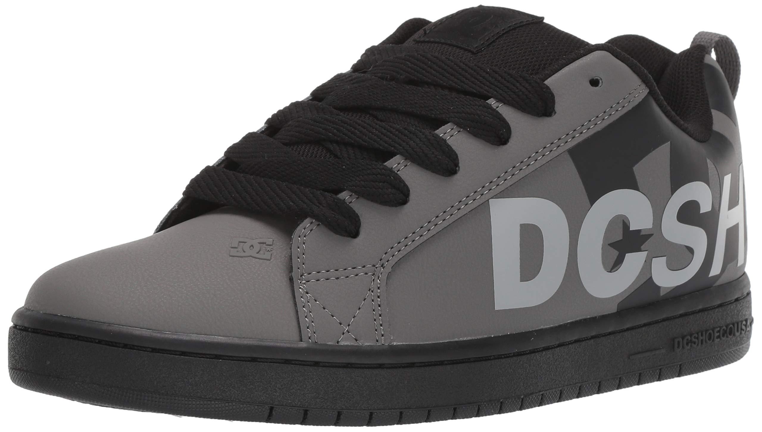 DC Men's Court Graffik SE Skate Shoe, Grey/Black/Grey, 8 M US