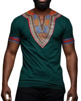 Makkrom Mens Dashiki African Tribal Floral V Neck Short Sleeve T Shirt Blouse Tops
