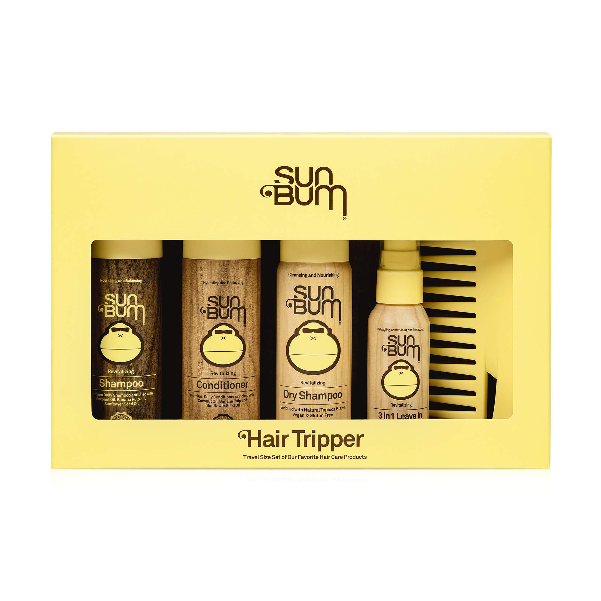 Sun Bum Hair Tripper, Hair Care Travel Size Kit, Includes 1 Travel Size bottle of Shampoo, Conditioner, Dry Shampoo, 3 in 1 Leave in Conditioner Spray and Comb, TSA Approved, 1 Count, One Size, Yellow