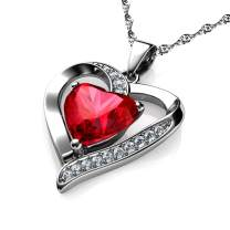 DEPHINI - Red Heart Necklace - 925 Silver Heart Pendant Embellished with Crystal 18 inch Sterling Silver Chain Jewelry Box