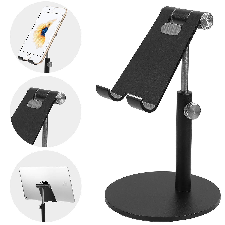 Co-Goldguard Tablet Stand Cell Phone Desk Holder Aluminum Desktop Stand Solid Anti-Slip Portable Universal Holders Adjustable Compatible with All Mobile Smart Phone Tablet,Black