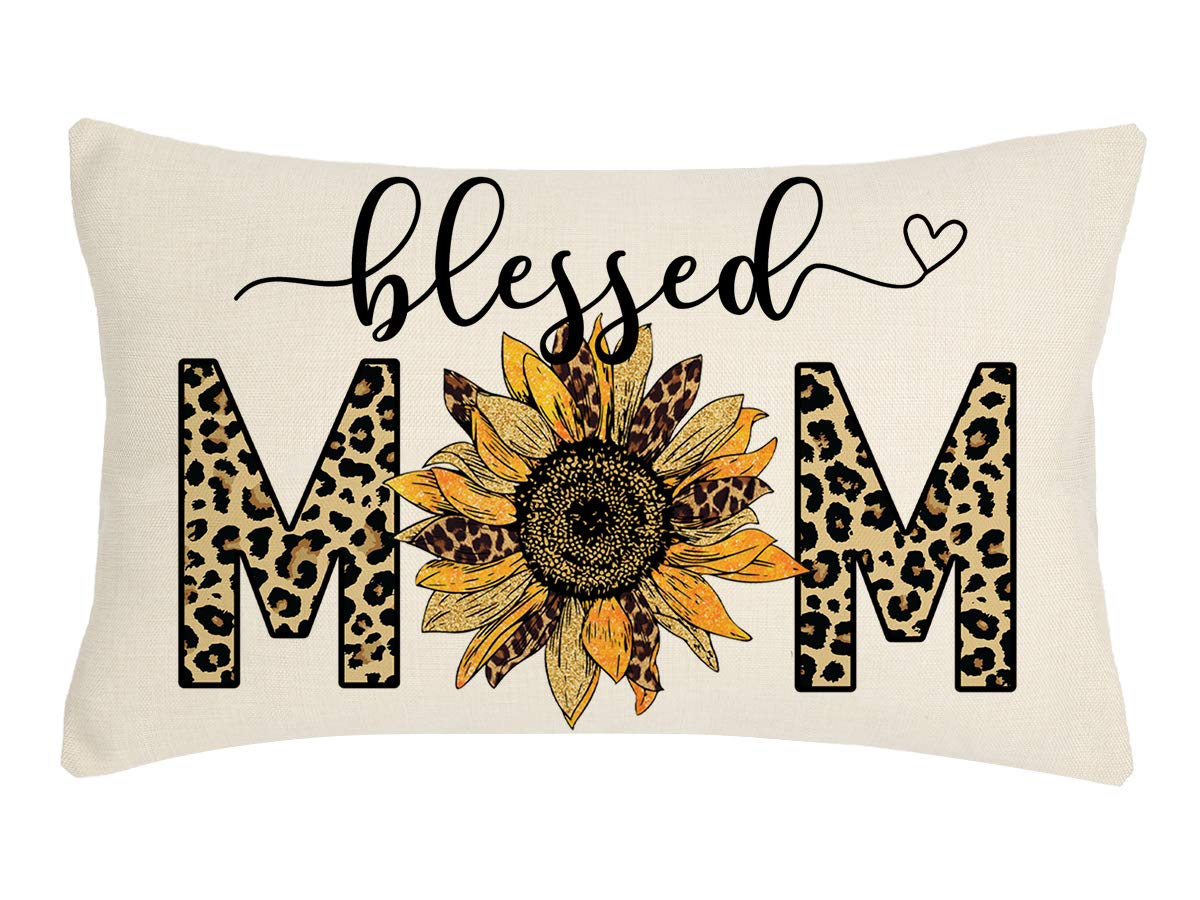 4TH Emotion Mothers Day Pillow Cover Leopard Blessed Mom Sunflower Farmhouse Decorations Cushion Case for Sofa Couch Polyester Linen 12x20 Inches
