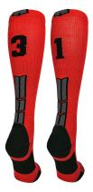 MadSportsStuff Player Id Jersey Number Socks Over The Calf Length Red and Black