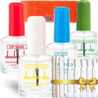 Dip Powder Nail Essential Set|Top Coat| USA MADE| Base Coat| Activator|Brush Cleaner for Nail Art 13pcs 15 ML/ 0.5 fl oz, Without UV Lamp Cure Nail dip powder liquid set Natural Dry Nail Art
