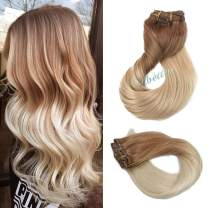 """Clip in Real Hair Extensions Ombre Hair Golden Brown Fading to Platinum Blonde 120G 7pcs Double Weft Remy Hair Clip in Extensions Silky Straight Full Head 14"""" for Women Girls"""