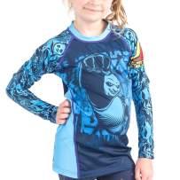 Fusion Fight Gear Kung Fu Panda Dragon Warrior Kids Rash Guard Compression Shirt - Blue Long Sleeve