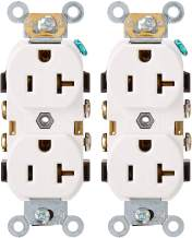 Leviton CR020-W 20-Amp, 125 Volt, Slim Body Duplex Receptacle, Straight Blade, Commercial Grade, Self Grounding, White, Pack of 2