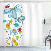 """Ambesonne Ladybugs Shower Curtain, Flowers Oval Dome-Shaped Ladybugs Illustration Never Ending Love Story Luck, Cloth Fabric Bathroom Decor Set with Hooks, 84"""" Long Extra, Blue White"""