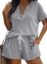 Dokotoo Womens Cute Summer Short Sleeve Lip/Ombre Print V Neck Pajamas Set Pjs Sets Loungewear Sleepwear Shorts Sets