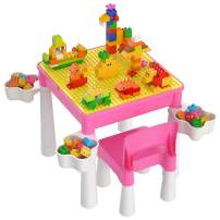 Kids 5-in-1 Multi Activity Table Set - Building Block Table with Storage - Play Table Includes 1 Chair and 128 Pieces Compatible Large Bricks Building Blocks for Boys Girls Aged 2 3 4 5 - Pink Color