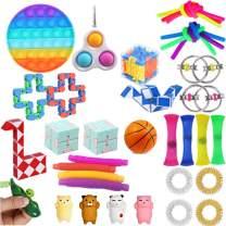 Komoo 31Pcs Fidgets Box, Simple Dimple Fidget Toys, Fidget Toy Packs Cheap, Decompression Keychain Toy, Push Pop Bubble Sensory Toy for Kids and Adults (A)