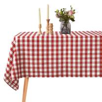 VEEYOO Spillproof Checkered Tablecloth Polyester Stain Resistant Wrinkle Free and Waterproof Table Cloth for Outdoor Picnic,Party, Home Dinner (Rectangle Tablecloth, White & Red, 60x120 inch)