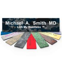 LHS My Business   Engraved Desk Sign Name Plates Personalized Navy Blue Plastic White Letters   Office Desk Decor 2x8 - C3