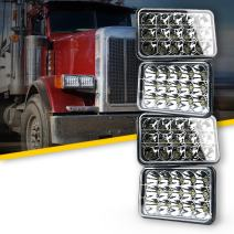 "Xprite 45 Watt 4x6"" LED Headlight Sealed Beam Replacement for Truck, Bus, HID Xenon H4651 H4652 H4656 H4666 H6545 Peterbilt Freightliner Kenworth (Pack of 4)"