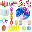 Ma.Lina.Ann Fidget Toys Set, Sensory Toys Pack Cheap for Kids Adults, Simple Dimple Figetget Toys, Stress Relief and Anti-Anxiety Tools, Fidgeting Game Kill Time (Purple tie dye (50PCS))