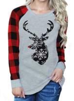 Women Christmas Reindeer Snowflake Print Plaid Raglan Long Sleeve T-Shirt Christmas Xmas Gift Tops Blouse