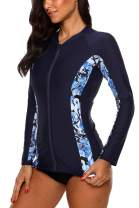 Vegatos Women Zip Front Rash Guard Swimsuit Long Sleeve UPF 50+ Rashguard Shirts