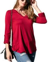DOUBLJU Women's Long Sleeve Banded V-Neck Top with Plus Size
