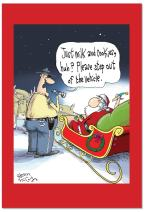 12 Boxed 'Santa DUI' Christmas Cards with Envelopes 4.63 x 6.75 inch, Happy Holidays with Funny Santa Claus and Police Officer Cartoon Christmas Cards, Hilarious Holiday Notes B2476XSG