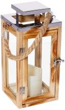 Lights4fun, Inc. Regular Wooden Battery Operated LED Flameless Candle Lantern for Indoor and Outdoor Use